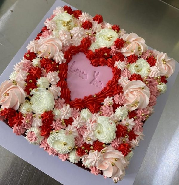 sqaure cake and proud valentines cake