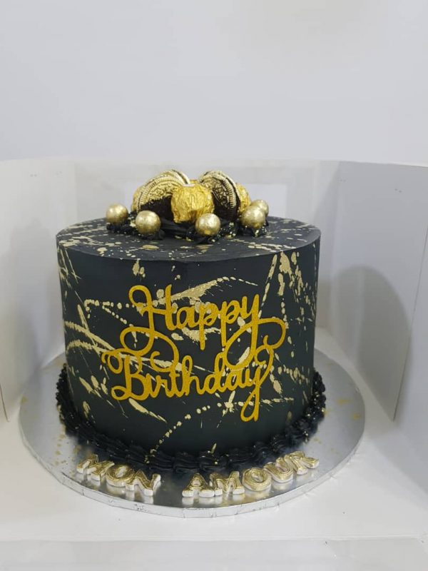 hand painted and black cake