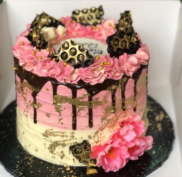 pink splash cake