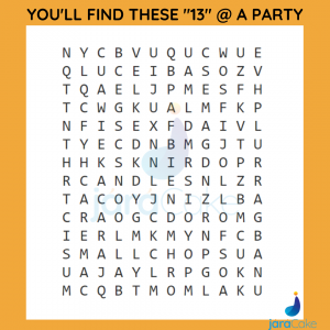 puzzles-jaracake 13 things you'll find at a birthday party